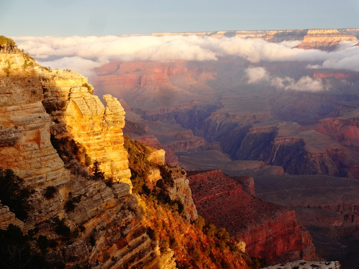 Rare clouds filled the Canyon that morning